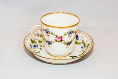 Cup and saucer for coffee. Elegant vintage cup with saucer for coffee or tea Stock Photography