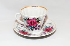Cup and saucer for coffee. Elegant vintage cup with saucer for coffee or tea Stock Images