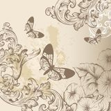 Elegant vintage design with ornate swirl ornament, butterflies a Royalty Free Stock Photography
