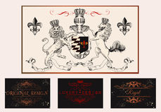 Elegant vintage designs set for luxury logos, restaurant, menu, Royalty Free Stock Photos