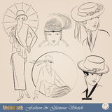 Elegant vintage fashion illustrations Stock Photo