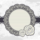 Elegant Vintage lace frame with the roses Stock Image