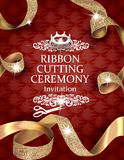 Elegant vintage ribbon cutting ceremony card with silk textured curled gold ribbons and leather background. Vector illustration Stock Photography