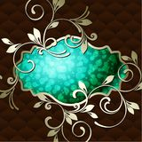 Elegant vintage rococo label in dark green Stock Photography
