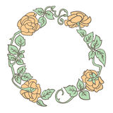 Elegant vintage round frame with roses and leaves elements. Vector decorative border Royalty Free Stock Image