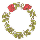 Elegant vintage round frame with roses and leaves elements. Vector decorative border Stock Photos