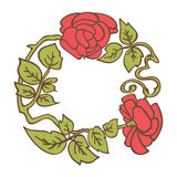 Elegant vintage round frame with roses and leaves elements. Vector decorative border Stock Images