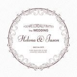 Elegant vintage round postcard for the invitation to the wedding, white color with a fluted ornament. The ornament is made in Vict Royalty Free Stock Image