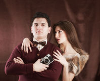 Elegant vintage style sensual couple Royalty Free Stock Photography
