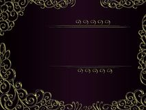 Elegant violet and black background with golden decor and frame for text Stock Photos