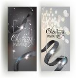 Elegant VIP banners with sparkling ribbons. Elegant VIP banners with sparkling silver ribbons and frames. Vector illustration Royalty Free Stock Photos