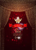 Elegant VIP invitation card with gold sparkling absrtacr curtains Stock Photos