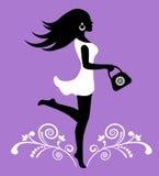Elegant vrouwelijk silhouet en overladen patroon met wervelingen Royalty-vrije Stock Afbeelding