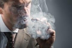Elegant vuxen man i ett moln av rök royaltyfri bild
