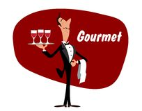 Elegant waiter with wineglasses Royalty Free Stock Image