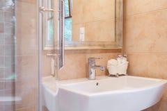 Elegant washbasin and shower Stock Photo