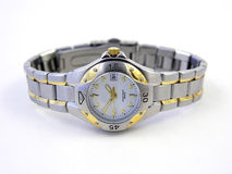 Elegant watch. With white face and silver/gold band Stock Images