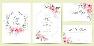Elegant Watercolor Floral Wedding Invitation Cards Template. Hand Drawing Flower and Branches Save the Date, Greeting, Thank You, stock illustration