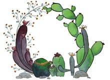Elegant watercolor flowers circle frame stock illustration