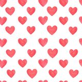 Red  hearts seamless pattern Stock Images