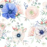 Elegant watercolor seamless pattern with flowers. Royalty Free Stock Images