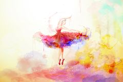 Elegant watercolor style ballerina stock illustration