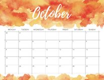 October watercolor calendar. royalty free stock images