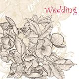 Elegant wedding  background with hand drawn  flowers Stock Photo