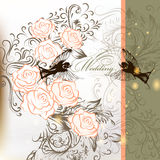Elegant Wedding Background With Roses, Swirl And Birds Stock Images