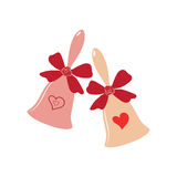 Elegant wedding bells with hearts over white background. Vector elegant wedding bells with hearts and bow. Element for your wedding designs, valentine s day Royalty Free Stock Images