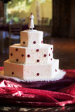 Elegant wedding cake. A Beautiful three layered wedding cake Stock Photography
