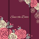 Elegant wedding card with roses Stock Photography