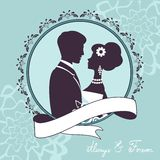 Elegant wedding couple in silhouette. Wedding card  in vector format Royalty Free Stock Images