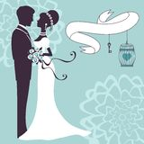 Elegant wedding couple in silhouette. Wedding card  in vector format Stock Photography