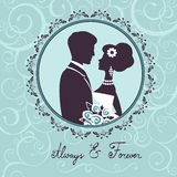 Elegant wedding couple in silhouette. Wedding card  in vector format Royalty Free Stock Photography