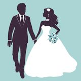 Elegant wedding couple in silhouette Stock Photos