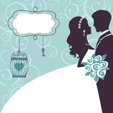 Elegant wedding couple in silhouette. Wedding card  in vector format Royalty Free Stock Photos