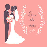 Elegant wedding couple. In silhouette. Wedding card in vector format Royalty Free Stock Image