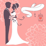 Elegant wedding couple. In silhouette. Wedding card in vector format Stock Photo