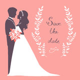 Elegant wedding couple. In silhouette. Wedding card in vector format Royalty Free Stock Photos