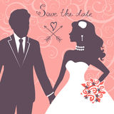 Elegant wedding couple. In silhouette. Wedding card in vector format Royalty Free Stock Photo