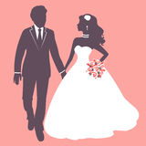 Elegant wedding couple. In silhouette. Wedding card in vector format Royalty Free Stock Images