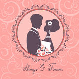 Elegant wedding couple. In silhouette. Wedding card in vector format Stock Photography