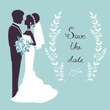 Elegant wedding couple in silhouette. Save the date card  in vector format Royalty Free Stock Photo