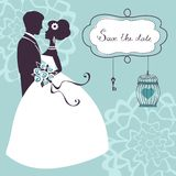 Elegant wedding couple in silhouette. Save the date card  in vector format Stock Photography