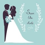 Elegant wedding couple in silhouette Stock Image
