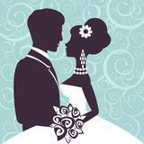 Elegant wedding couple in silhouette. Save the date card  in vector format Stock Images