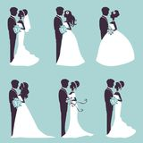 Elegant wedding couples in silhouette Stock Image