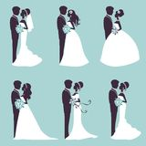 Elegant wedding couples in silhouette. Illustration of Six wedding couples in silhouette in vector format Stock Photos