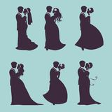 Elegant wedding couples in silhouette Royalty Free Stock Photography